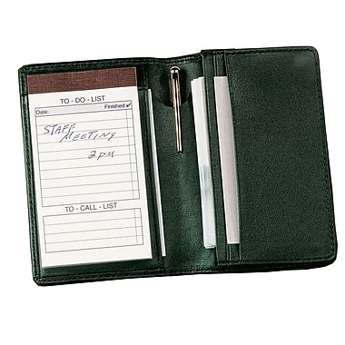Royce Leather Note Jotter Organizer, Green, Silver Foil Stamping, Full Name