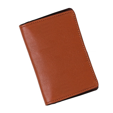 Royce Leather – Organisateur avec bloc-notes, havane, estampage doré, nom complet