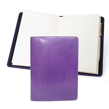 Royce Leather Aristo Journal, Plum, Silver Foil Stamping, Full Name