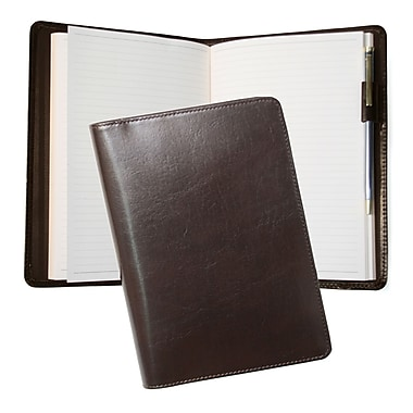Royce Leather Aristo Journal, Chestnut Brown, Silver Foil Stamping, Full Name