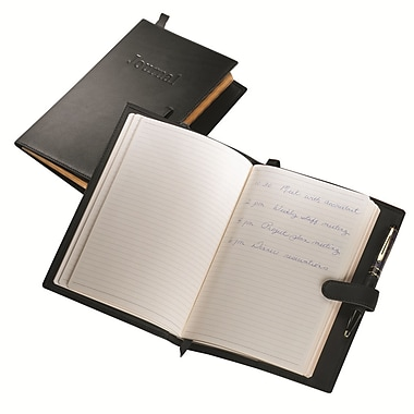 Royce Leather Handcrafted Journal, Black, Silver Foil Stamping, 3 Initials