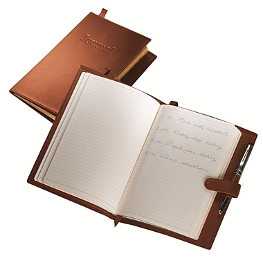 Royce Leather Handcrafted Harness Journal, Tan, Silver Foil Stamping, 3 Initials