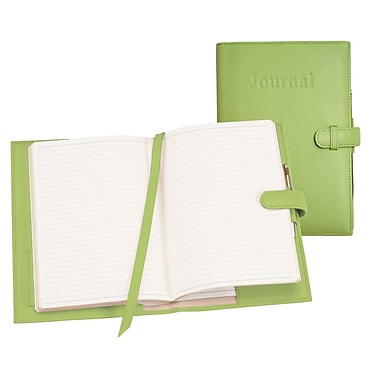 Royce Leather Handcrafted Journal, Key Lime Green, Silver Foil Stamping, 3 Initials