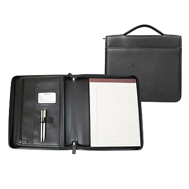 Royce Leather Executive Brief Padfolio, Black, Silver Foil Stamping, 3 Initials
