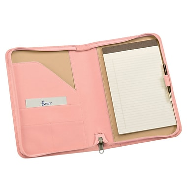 Royce Leather Zip Around Junior Writing Padfolio, Carnation Pink, Silver Foil Stamping, 3 Initials