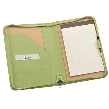 Royce Leather Zip Around Junior Writing Padfolio, Key Lime Green, Silver Foil Stamping, 3 Initials