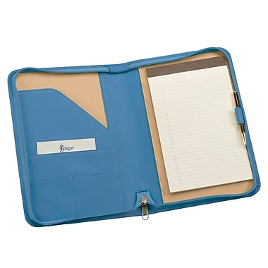 Royce Leather Zip Around Junior Writing Padfolio, Royce Blue, Gold Foil Stamping, 3 Initials