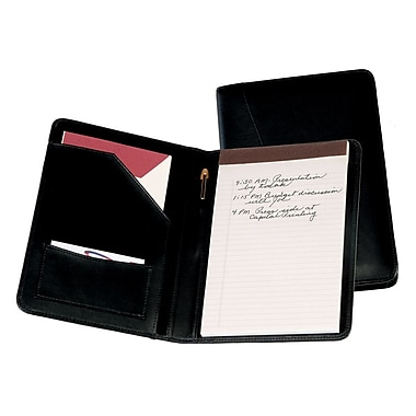 Royce Leather Junior Writing Leather Padfolio, Black, Debossing, 3 Initials