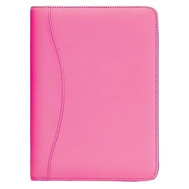 Royce Leather Junior Writing Padfolio, Wild berry, Silver Foil Stamping, 3 Initials