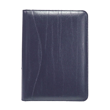 Royce Leather – Porte-documents d'écriture junior, bleu, estampage argenté, 3 initiales