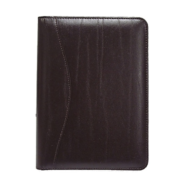 Royce Leather Junior Writing Leather Padfolio, Burgundy, Silver Foil Stamping, Full Name