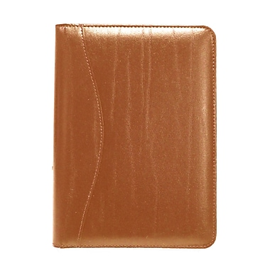 Royce Leather Junior Writing Leather Padfolio, Tan, Silver Foil Stamping, Full Name