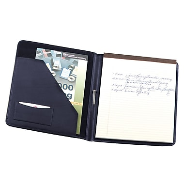 Royce Leather Deluxe Writing Padfolio, Blue, Silver Foil Stamping, 3 Initials