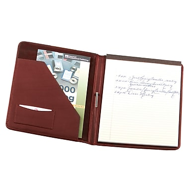 Royce Leather Deluxe Suede Lined Writing Padfolio, Burgundy, Silver Foil Stamping, 3 Initials