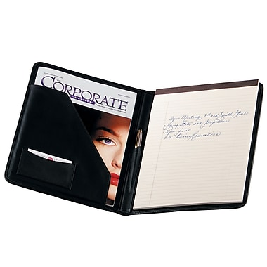Royce Leather Suede Lined Writing Padfolio, Black, Silver Foil Stamping, Full Name