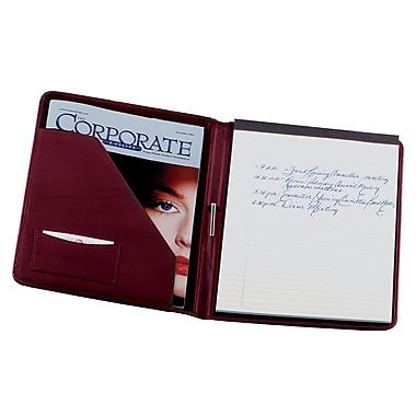 Royce Leather Writing Padfolio, Burgundy, Silver Foil Stamping, 3 Initials