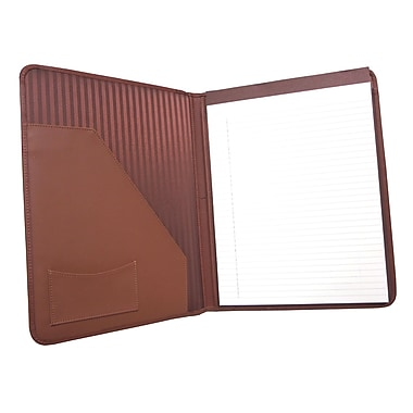 Royce Leather Writing Padfolio, Tan, Silver Foil Stamping, 3 Initials