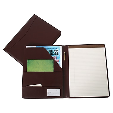 Royce Leather Classic Padfolio, Burgundy, Debossing, 3 Initials
