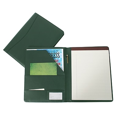 Royce Leather Aristo Handcrafted Padfolio, Green, Silver Foil Stamping, Full Name