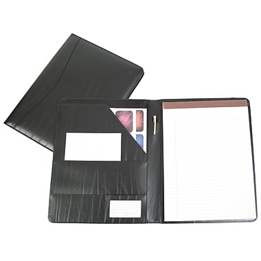 Royce Leather – Porte-documents Aristo, noir, dégaufrage, 3 initiales