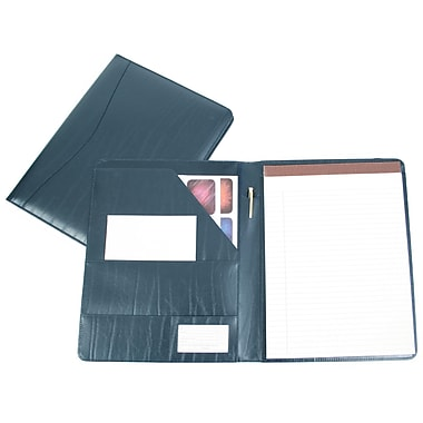 Royce Leather – Porte-document, bleu, estampage argenté, 3 initiales