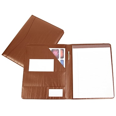 Royce Leather – Porte-documents, havane, dégaufrage, 3 initiales