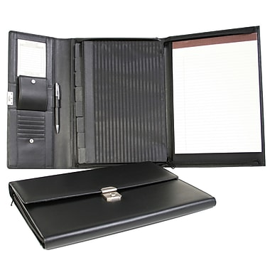 Royce Leather - Porte-document et organisateur de documents, noir, estampage or, nom complet
