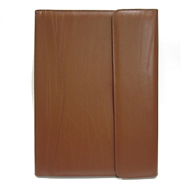 Royce Leather Pad holder and Writing Organizer, Tan, Silver Foil Stamping, Full Name