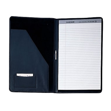 Royce Leather Legal Size Writing Pad Holder, Black, Silver Foil Stamping, 3 Initials