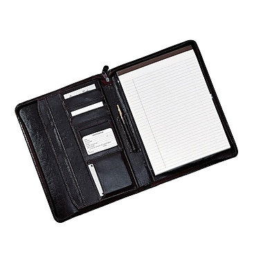 Royce Leather Zip-Around Writing Pad Holder, Black, Silver Foil Stamping, Full Name