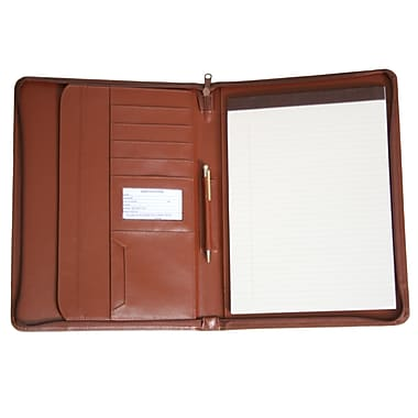 Royce Leather Zip-Around Pad holder and Organizer, Tan, Silver Foil Stamping, 3 Initials