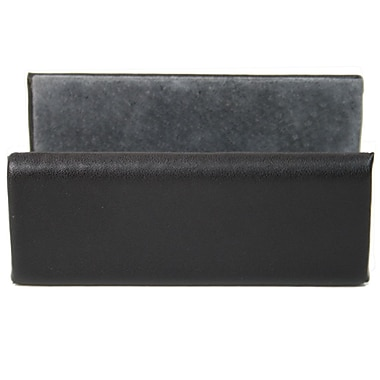 Royce Leather Nappa Business Card Holder, Black, Gold Foil Stamping, 3 Initials