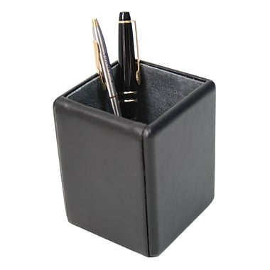 Royce Leather Pen/Pencil Holder, Black, Silver Foil Stamping, 3 Initials