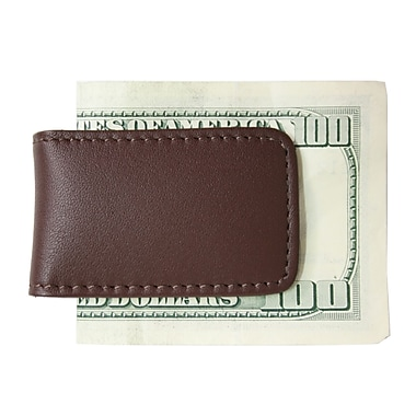 Royce Leather Classic Magnetic Money Clip, Brown, Silver Foil Stamping, Full Name