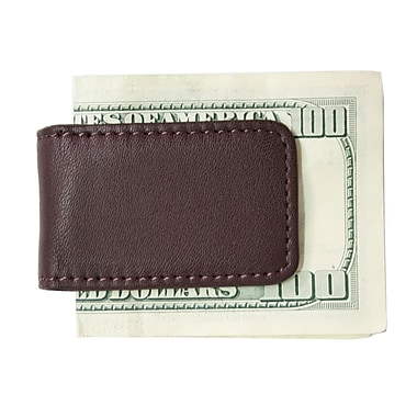 Royce Leather Classic Magnetic Money Clip, Burgundy, Gold Foil Stamping, Full Name