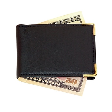 Royce Leather Magnetic Money Clip, Large, Black, Gold Foil Stamping, 3 Initials