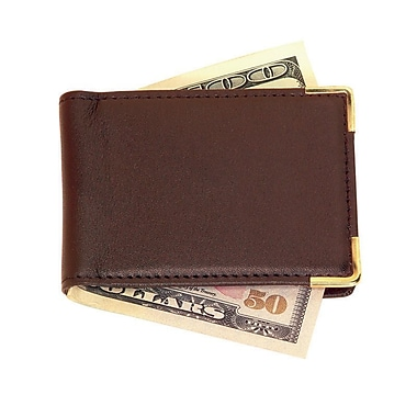 Royce Leather – Pince à billets magnétique, grand format, chocolat, estampage argenté, 3 initiales