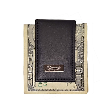 Royce Leather Nappa Prima Magnetic Money Clip, Black, Silver Foil Stamping, Full Name