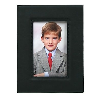 Royce Leather Deluxe Photo Frame, Black, Silver Foil Stamping, Full Name
