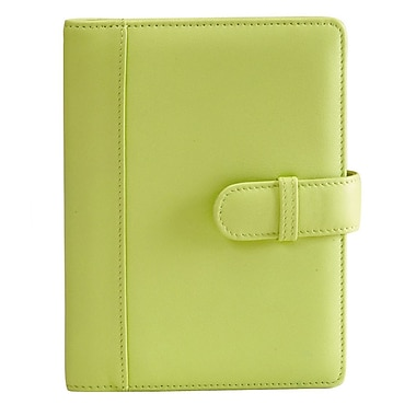 Royce Leather – Étui à photo « Brag Book », 4 x 6 po, vert lime, estampage or, 3 initiales