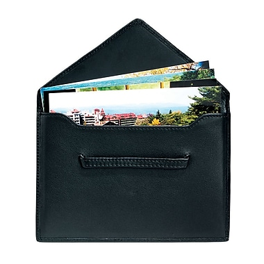 Royce Leather Envelope Photo Holder, Black, Silver Foil Stamping, 3 Initials