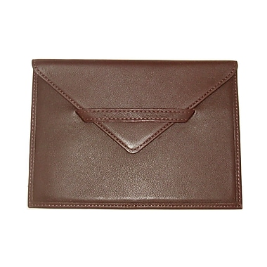 Royce Leather – Enveloppe porte-photos, chocolat, estampage or, nom complet