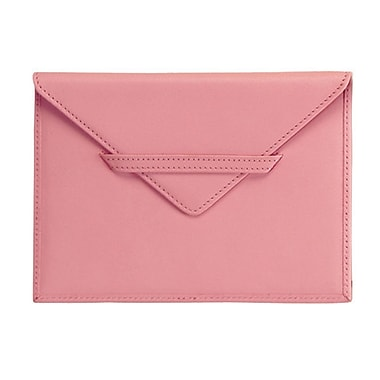 Royce Leather Envelope Photo Holder, Carnation Pink, Debossing, Full Name