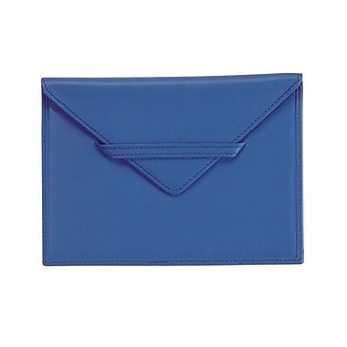 Royce Leather - Enveloppe pour photo, bleu Royce, estampage à chaud argenté, nom complet