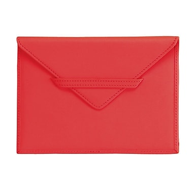 Royce Leather – Pochette porte-photos, rouge, dégaufrage, 3 initiales