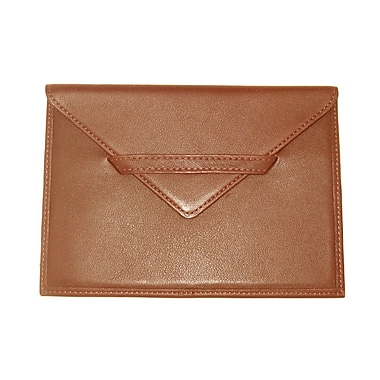 Royce Leather Envelope Photo Holder, Tan, Silver Foil Stamping, Full Name