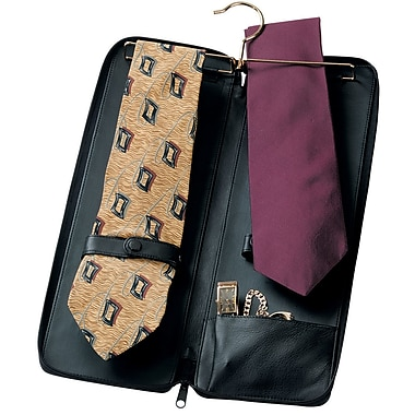 Royce Leather Tie Case, Black, Gold Foil Stamping, 3 Initials