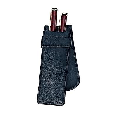 Royce Leather Double Pen Case, Black