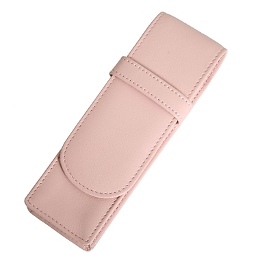 Royce Leather Double Pen Case, Carnation Pink, Silver Foil Stamping, Full Name
