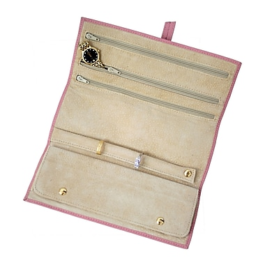 Royce Leather Suede Lined Jewellery Roll, Carnation Pink, Debossing, 3 Initials